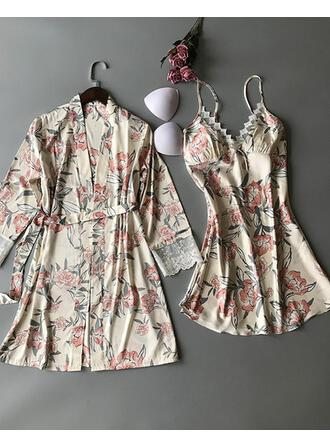 Poliéster Floral Baby-doll Robe