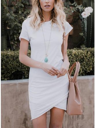 Solid Round Neck Asymmetrical Bodycon Dress