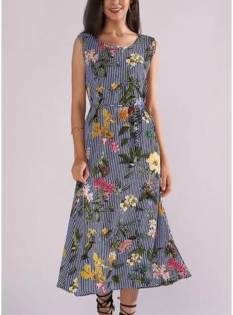 Print Floral Striped Round Neck Midi Shift Dress