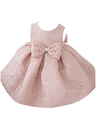 Girls Round Neck Solid Bow Cute Party Dress
