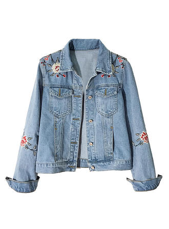 Denim Long Sleeves Embroidery Denim Coats