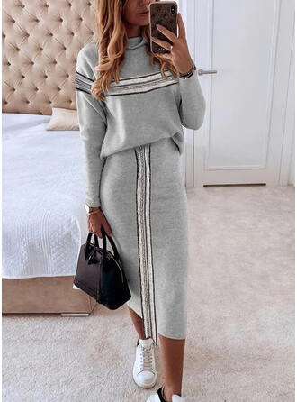 Sequins/Striped Long Sleeves Bodycon Casual Midi Dresses