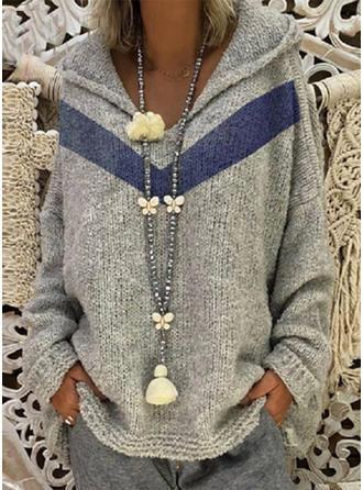 Akryl Poliester Bluza z kapturem Prążek Swetry