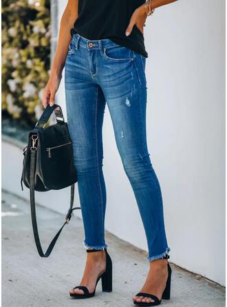 Duży rozmiar Frędzle Długo Elegancki Seksowny Dżinsy