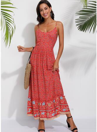 Print/Floral Sleeveless A-line Sexy/Casual/Boho/Vacation Maxi Dresses
