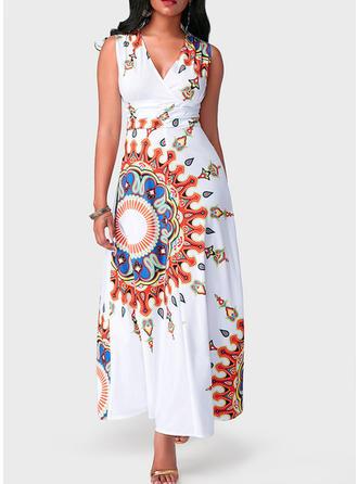 Print V-neck Maxi Sheath Dress