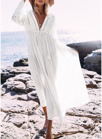 Solid Long Sleeves A-line Midi Vacation Dresses