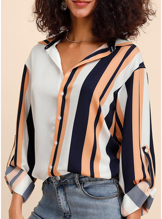 Color Block Striped Lapel Long Sleeves Button Up Casual Elegant Shirt Blouses
