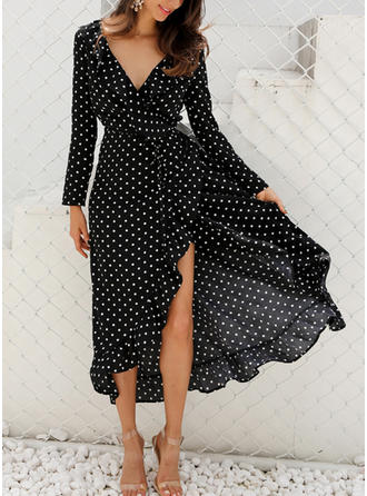 PolkaDot Long Sleeves A-line Asymmetrical Little Black/Casual Dresses