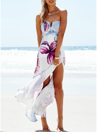 Print/Floral Sleeveless Sheath Casual/Vacation Maxi Dresses