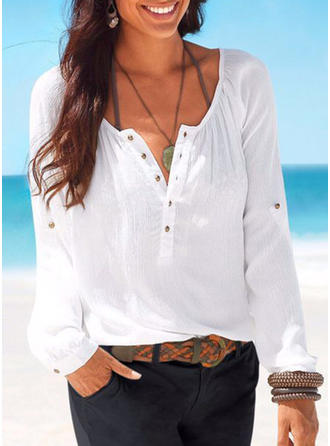 Linen Round Neck Plain Long Sleeves Button Up Blouses