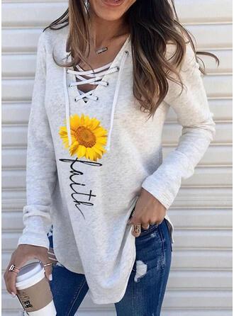Sonnenblumendruck V-Ausschnitt Lange Ärmel Pullover
