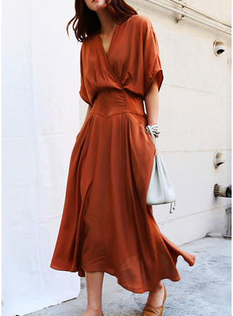 Solid 1/2 Sleeves A-line Midi Casual/Elegant Dresses