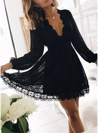 Lace/Solid Long Sleeves A-line Above Knee Little Black/Party/Elegant Dresses