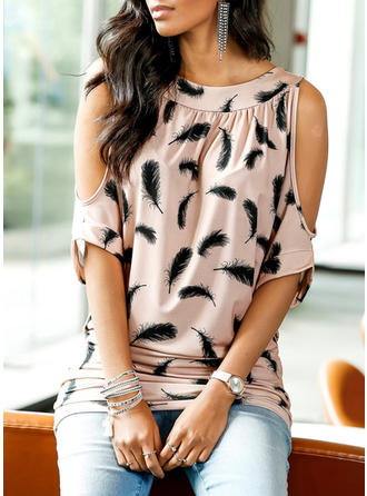 Cotton Blends Round Neck Print 1/2 Sleeves Casual Blouses