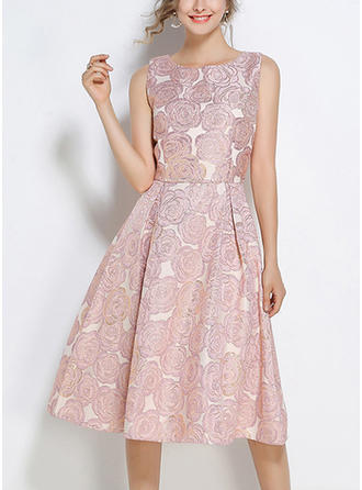 Polyester With Embroidery/Crumple Knee Length Dress
