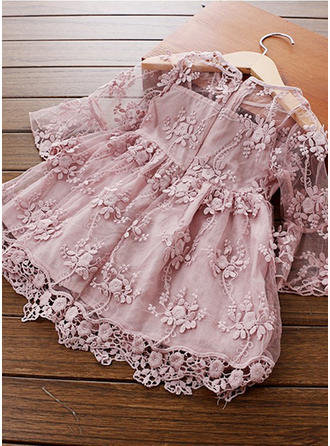 Girls Round Neck Solid Lace Embroidery Casual Cute Dress