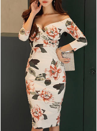Print Floral Off-the-Shoulder Knee Length Bodycon Dress