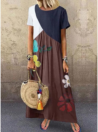 Print/Floral/Color Block Short Sleeves Shift Casual/Vacation Maxi Dresses