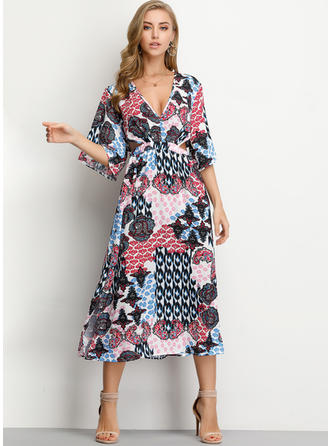 Print 1/2 Sleeves A-line Midi Casual/Boho/Vacation Dresses