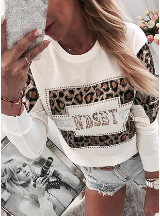 Animal Print Round Neck Long Sleeves Casual Knit Blouses