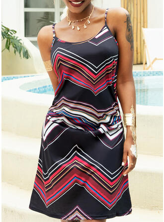 Print Sleeveless Sheath Above Knee Casual Slip Dresses