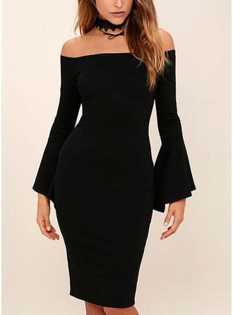 Solid Off-the-Shoulder Knee Length Sheath Dress