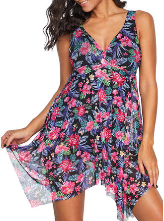 Floral Print Strap Bohemian Swimdresses Swimsuits