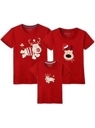 Cerf Inmprimé Tenue Familiale Assortie T-shirts