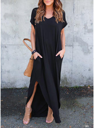 Solid Short Sleeves Shift Little Black/Casual Maxi Dresses