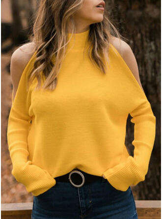 Solid Cold Shoulder Stand Collar Casual Sweaters