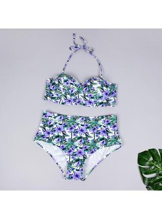 Taille Haute À Bretelles Col V À La Mode Grande taille Bikinis Maillots De Bain