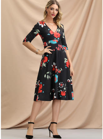 Print/Floral 1/2 Sleeves A-line Knee Length Casual/Elegant Dresses