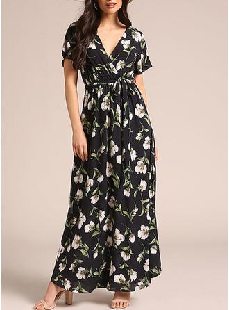 Print Floral V-neck Maxi Shift Dress
