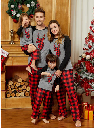 Deer Plaid Family Matching Christmas Pajamas
