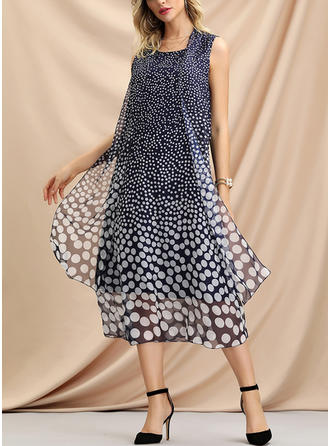 PolkaDot Sleeveless Shift Casual/Party/Vacation Midi Dresses
