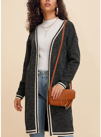 Cotton Blends Long Sleeves Color Block Wide-Waisted Coats Cardigans