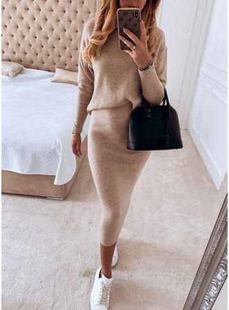Solide Lange Mouwen Bodycon Potlood Zwart jurkje/Casual Medium Jurken