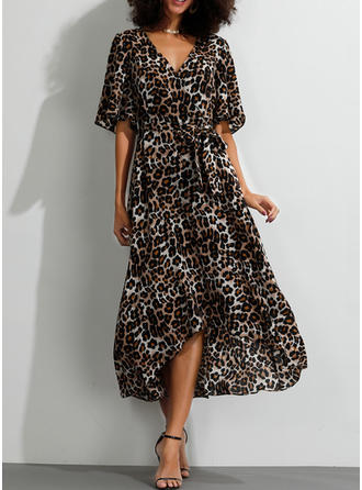 Animal Print 1/2 Sleeves A-line Asymmetrical Casual/Boho/Vacation Dresses