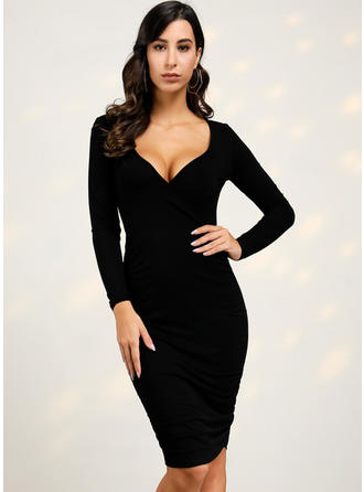 Solid Long Sleeves Bodycon Midi Little Black/Casual/Elegant Dresses