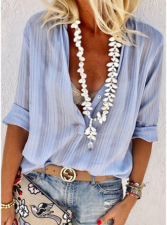 Solid V Neck Long Sleeves Button Up Casual Sexy Blouses