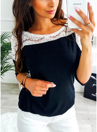 Patchwork Lace Round Neck Long Sleeves Casual T-shirts
