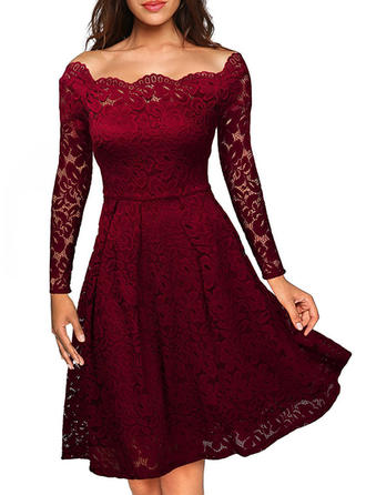 Lace Solid Asymmetrical Knee Length A-line Dress
