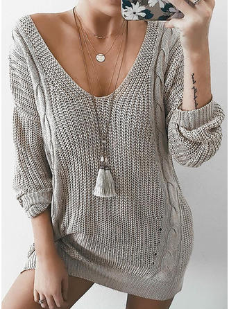 Solid Pulls Tricot à Câble V-neck Robe Pull