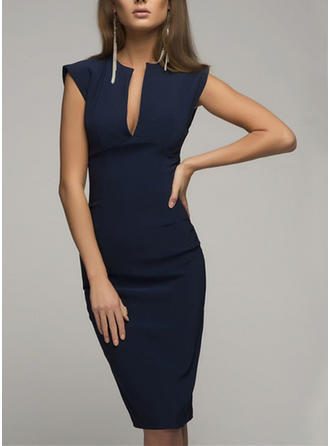 Solid Sleeveless Bodycon Knee Length Sexy/Elegant Dresses