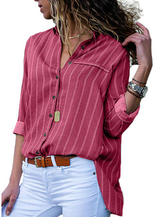 Striped Lapel Long Sleeves Button Up Blouses