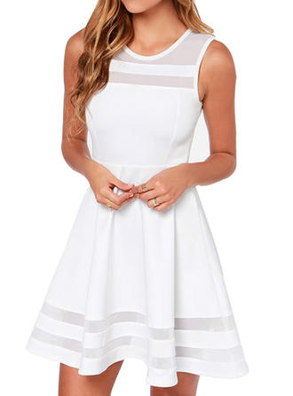 Solid Round Neck Above Knee A-line Dress