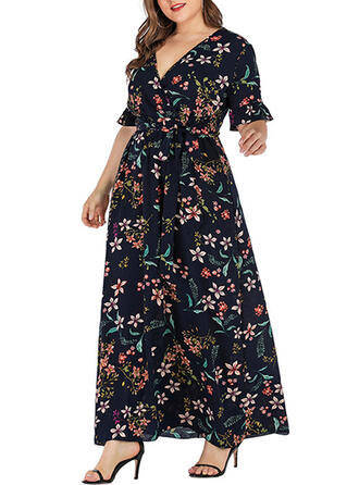 Print/Floral 1/2 Sleeves A-line Vacation/Plus Size Maxi Dresses