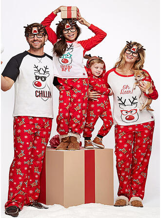 Cartoon Print Matching Family Christmas Pajamas