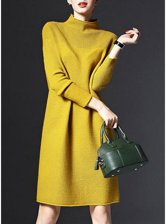 Solid Long Sleeves Shift Knee Length Sweater Dresses